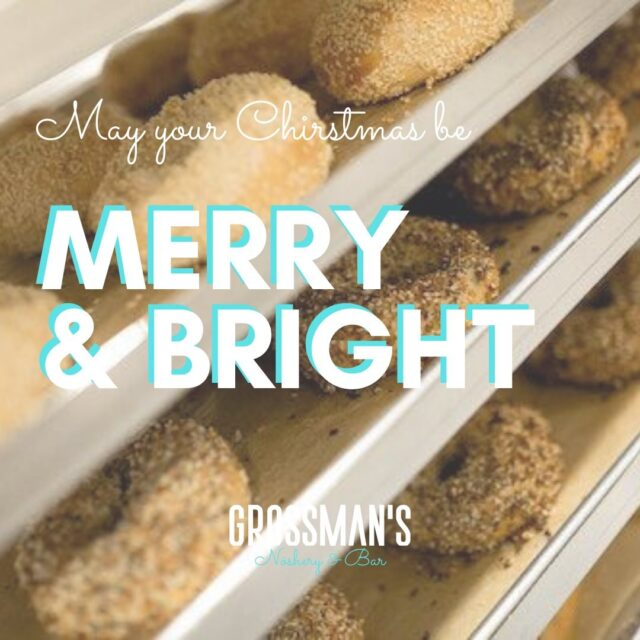Merry Christmas from Grossmans! Wishing everyone health and comfort this season. WE'RE CLOSED TODAY & TOMORROW, but will be back on Sunday, December 27 with regular hours: 8:00am - 3:00pm for takeout.