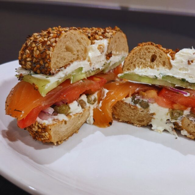 It is called THE Brooklyn Bagel. 😍  Toasted bagel // Housemade Lox // Cucumber // Tomato // Sliced Onion // Schmear // Dill   #bagelsandwich #bagels #food #bakery #sonomacounty #santarosa #takeout #curbsidepickup #localeats #dinelocal #santarosafood #railroadsquare #foodcommunity #takeout #visitus #Jewishcuisine #newyorkdeli #SonomaCountyEats #BrooklynBagel